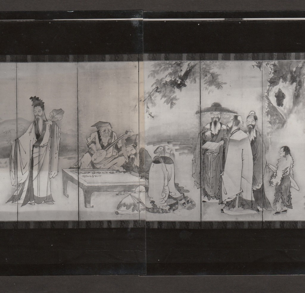 朝田寺 蕭白筆 唐人物画